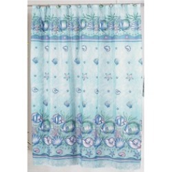 Carnation Home Fashions Oceanic Fabric Shower Curtain