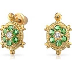 Bling Jewelry Simulated Emerald CZ Turtle Studs 14K Gold Screw backs
