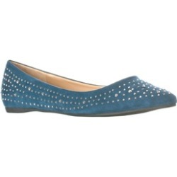 Lasonia Women's Faux Suede Rhinestone Studded Pointed Toe Flats, Blue