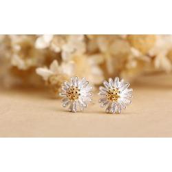 Daisy Flower Earrings Ear Stud Jewelry Silver Plated Stud Earrings