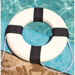 """18"""" White, Green and Purple Swimming Pool Summer Safety Ring Buoy"""