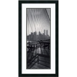 Framed Print 'View From Brooklyn Bridge', Torsten Andreas Hoffman: Outer 18x34""