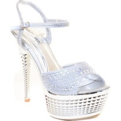 Chrome Silver Rhinestone Evening Platform Sandal Formal Women's Heels