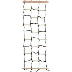 Hey! Play! Kids Climbing Cargo Net with Nylon Rope and Wooden Dowels