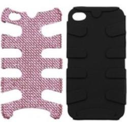 Insten Pink Diamante/Black Fishbone Case For iPhone 4 4S