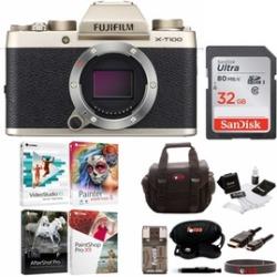 Fujifilm X-T100 Mirrorless Digital Camera (Gold) with Accessories Bundle