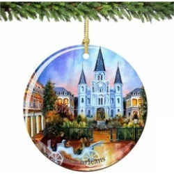 New Orleans Christmas Ornament, Porcelain French Quarter Ornaments