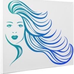 Blue Long Hair Flowing CANVAS Wall Art Home Décor
