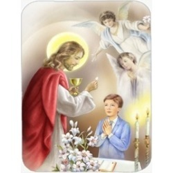 Carolines Treasures APH7584LCB First Communion Boy Glass Cutting Board Large