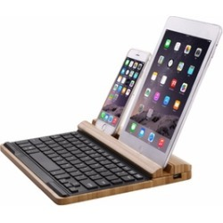 Bamboo Multi-connection Bluetooth Keyboard and Stand