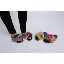 "N Demand Shoes ""Roxy"" Glamour Slide Furr Sandal F080-224BC"