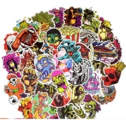 100 Skeleton Themed Waterproof Stickers Set for decorating found on Bargain Bro India from groupon for $14.95