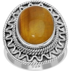 Orchid Jewelry 925 Sterling Silver 9 Carat Tiger Eye Ring