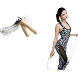 Polyester Jump Rope with Spring Loaded Wooden Handles