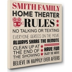 Personalized Family Theater Cinema Wall Art CANVAS Decor