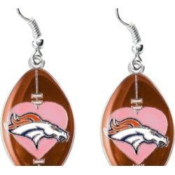 Sports Team Logo NFL Dangle Pink Heart Football Earring Set
