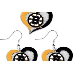 Sports Team Logo Swirl Heart Necklace and Earring Set NHL Charm Gift
