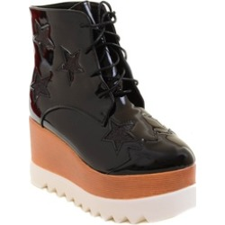 Funky Star Lace Up Vegan Leather Women's Platform Wedge Boot Vegan