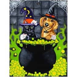 Carolines Treasures AMB1434CHF Brewing Up Trouble Halloween Dachshund