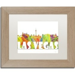 Marlene Watson 'Las Vegas Nevada Skyline Mclr-2' Matted Birch Framed Art