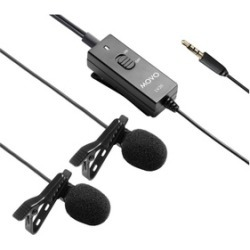 Movo LV20 Dual Lavalier Clip-on Interview Microphone for DSLR Cameras