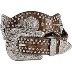 Nocona Belt N3415202-XL 2.5 in. Womens Scalloped Concho Leather Belt Brown - Ext