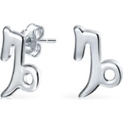 .925 Silver Capricorn Zodiac Sign Stud Earrings