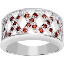 Orchid Jewelry 925 Sterling Silver 0.60 Carat Garnet Crossover Ring