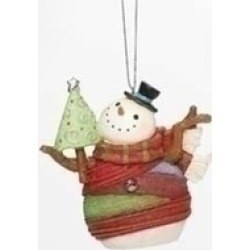 """3.75"""" Striped Yarn Wrapped Snowman with Tree Christmas Ornament"""