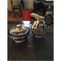 Bombay Company Cream And Sugar Set, Floral Blue & White, Ceramic