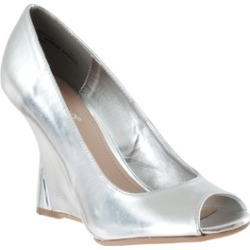 Riverberry Women's 'Naya' Wedge Heel Peep Toe Shoes, Silver