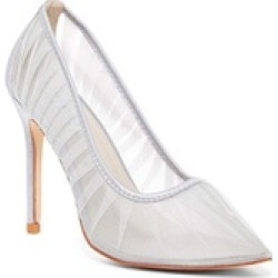 Pleated Silver Organza Pointy Toe Stiletto Heels Women's Pumps