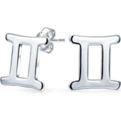 .925 Silver Gemini Zodiac Sign Stud Earrings