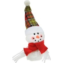 "8"" Plush Jolly Snowman with Plaid Santa Hat Christmas Ornament"