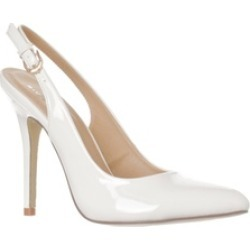 Riverberry 'Lucy' Pointed-Toe Sling Back Pump Heels, White Patent