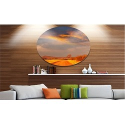 Fantastic Road and Sky in Kenya' Oversized Landscape Metal Circle Wall Art