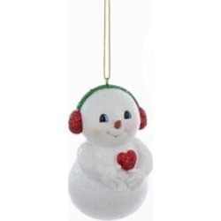 """3.75"""" Chubby Snowman in Red Ear Muffs Hanging Christmas Ornament"""