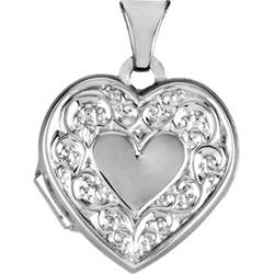 14K White Heart Shaped Locket