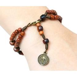 San Benito Saint Benedict Medal Jatoba Wooden Beads Bracelet Rosary