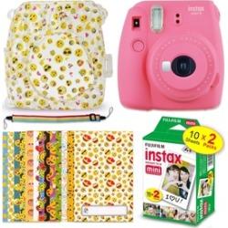 Fuji Instax Mini 9 EMOJI Kit - Instant Camera FLAMINGO PINK plus More NEW