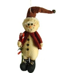 """10.5"""" Country Heritage Plush Snowman in Santa Hat Christmas Ornament"""
