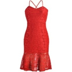 Elegant Ladies Red Lace Bodycon Cocktail Party Dress