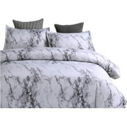 Reversible Quilt Set Collection (3-Piece) White Marble Patterns