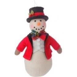 "7"" Holiday Snowman in Red Coat and Top Hat Christmas Ornament"