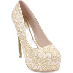 Lace Overlay Glitter Almond Toe Stiletto Platform Pump Gold