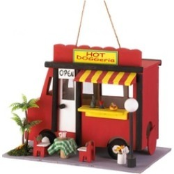 Village Hot Dog Food Truck Birdhouse with hanging loop and cleanout
