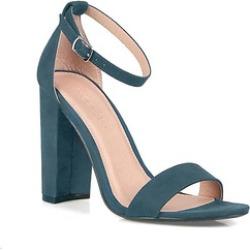 Vegan Suede Ankle Strap Open Toe Chunky Heel Women's Shoes