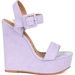 Lilac Teal Purple Suede Open Toe Buckled Ankle Strap Platform Wedge