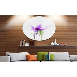 Purple Flower with Green Splash' Floral Metal Round Wall Decor