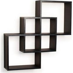Danya B. FF6013B Intersecting Squares Decorative Wall Shelf Black
